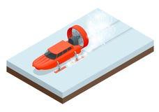 Aerosani isometrico, da gatto delle nevi guidato da elica, corrente sugli sci, utilizzati per le comunicazioni, consegne di posta royalty illustrazione gratis