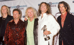 Aerosmith at the MTV Music Awards. Members of the Rock band Aerosmith together at the MTV Music awards in 1998. (Image taken from color slide Stock Image