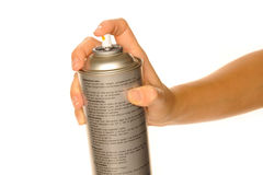 Aerosol. Silver aerosol holding in hand Stock Photos