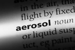 Aerosol. Word in a dictionary.  concept royalty free stock images