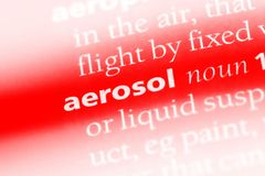 Aerosol. Word in a dictionary.  concept royalty free stock image