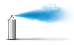 Aerosol can spraying blue paint. Mist cloud on white backround Royalty Free Stock Photography