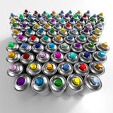 Aerosol cans arrangement Royalty Free Stock Image