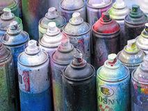 Aerosol cans splash paints Royalty Free Stock Image