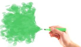 Aerosol de la etiqueta de plástico del verde del fondo del ambiente imagen de archivo