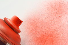 Aerosol spray. Paints in red on white royalty free stock images