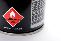 Aerosol spray can. Closeup of warning on aerosol can spray royalty free stock images