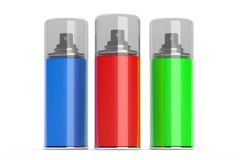 Aerosol spray cans with color paints. Stock Image