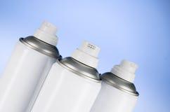 Aerosol spray cans nozzle closeup. Air freshener product studio photograph Stock Images