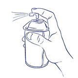 Aerosol spray in hand spraying Royalty Free Stock Photo