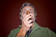 Aerosoli/lów dojrzałych mężczyzna medyczny pojęcie Fotografia Stock