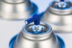 Aerosolspraydosen-Düsennahaufnahme Lufterfrischerprodukt-Studiophotographie Stockfoto