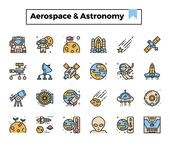 Aerospace and astronomy vector illustration