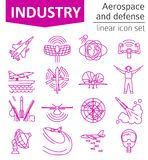 Aerospace and defense, military aircraft icon set. Thin line des. Ign for creating infographics. Vector illustration Royalty Free Stock Image