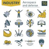 Aerospace and defense, military aircraft icon set. Thin line des. Ign for creating infographics. Vector illustration Stock Images