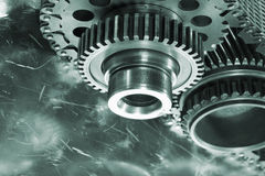 Aerospace gears and timing chain. Large titanium aerospace gears with timing chain, duplex green toning concept stock photography