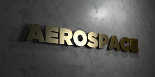 Aerospace - Gold text on black background - 3D rendered royalty free stock picture. This image can be used for an online website banner ad or a print postcard Stock Photos