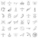 Aerospace icons set, outline style Royalty Free Stock Photo