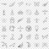 Aerospace icons set, outline style. Aerospace icons set. Outline style of 36 aerospace vector icons for web for any design stock illustration