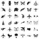 Aerospace icons set, simle style Royalty Free Stock Images