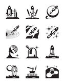 Aerospace mission set of icons Royalty Free Stock Image