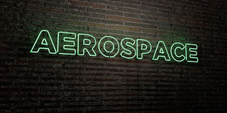AEROSPACE -Realistic Neon Sign on Brick Wall background - 3D rendered royalty free stock image. Can be used for online banner ads and direct mailers Stock Images