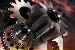 Aerospace titanium gears and parts Royalty Free Stock Image