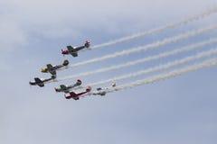 Aerostars-Flugschauteam in YAK-50s Lizenzfreies Stockfoto