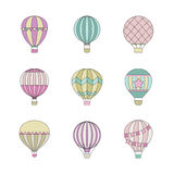 Aerostat air balloon outline colored simple icon set. Stock Images