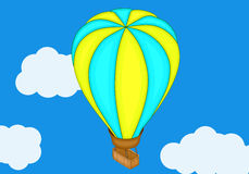 Aerostat baloon isometric flat vector. 3d illustration. Flat design, Hot air balloon in the sky with cloud background. Vintage hot air balloon in the sky Stock Images