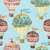 Aerostat seamless pattern. Watercolor hot air balloons Royalty Free Stock Photo