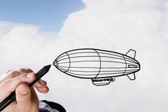 Aerostat in sky Stock Image