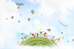 Aerostaten die hoog vliegen Stock Foto