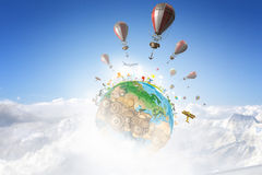 Aerostaten die over hemel vliegen Gemengde media Royalty-vrije Stock Afbeeldingen