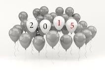 Aerostati bianchi con un segno da 2015 nuovi anni Fotografia Stock