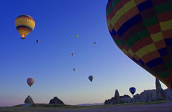 Aerostati in Cappadocia, Turchia Immagini Stock