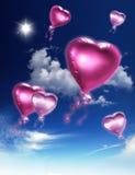 Aerostati del cuore Fotografia Stock