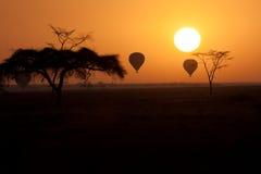 Aerostati di aria calda che volano sopra Serengeti Tanzania a Fotografia Stock