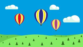 Aerostati di aria calda nel cielo Palloni che galleggiano sul cielo royalty illustrazione gratis