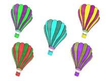 Aerostati di aria calda volanti Illustrazione artistica dipinta a mano variopinta Immagine Stock