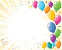 Aerostati di celebrazione del partito sul burst di colore giallo Fotografie Stock