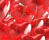 Aerostati di colore rosso del cuore. Fotografia Stock Libera da Diritti