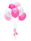 Aerostati di consapevolezza del cancro della mammella Fotografia Stock Libera da Diritti