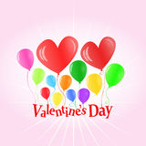 Aerostati di giorno del biglietto di S. Valentino che di sollevamento le lettere Fotografia Stock Libera da Diritti