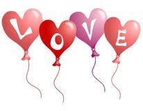 Aerostati a forma di del cuore di amore di giorno del biglietto di S. Valentino Fotografie Stock Libere da Diritti