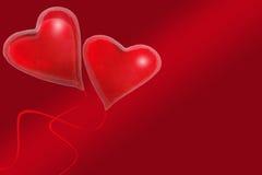 Aerostati a forma di del cuore rosso Fotografie Stock Libere da Diritti