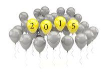 Aerostati gialli con un segno da 2015 nuovi anni Fotografie Stock Libere da Diritti