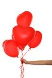 Aerostati rossi del cuore Fotografie Stock
