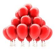 Aerostati rossi dell'elio del partito. 3D Fotografia Stock