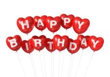 Aerostati rossi di figura del cuore di buon compleanno Fotografia Stock Libera da Diritti